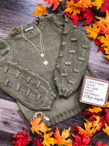 Olive Bubble Sleeve Sweater