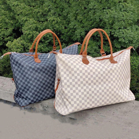 White Checkered Weekender Bag
