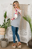 Stripe and Floral T-Shirt Hoodie