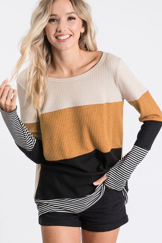Oatmeal Mustard and Black Color Block Top