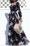 Navy Floral Puff Sleeve Dress