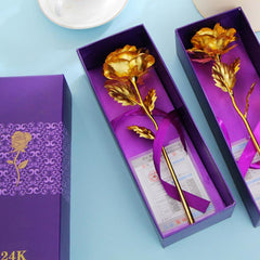 24k Gold Foil Plated Rose (Valentines Day, Birthday, Wedding Gift For Lovers)