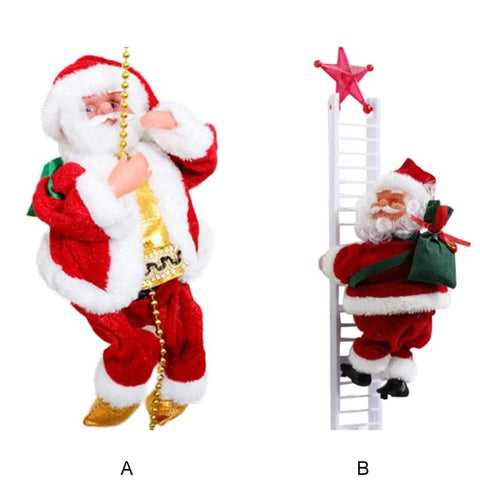 Animated Santa Claus Climbing Ladder Or Pearl Beads Christmas Tree Decor