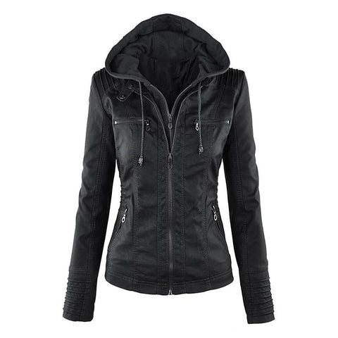 Aurora Women Leather Hooded Jacket