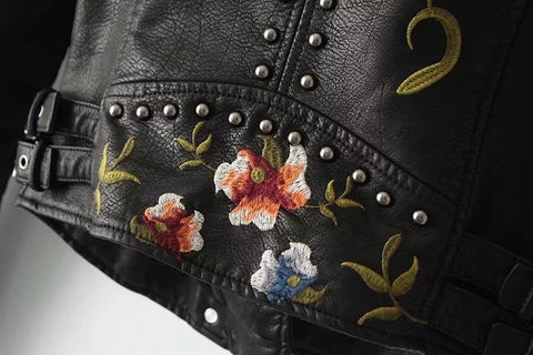 Bianca Women Embroided Leather Jacket