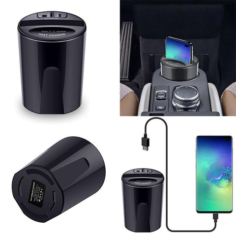 Car Wireless Charger Cup With USB Output (iPhoneXS MAX/XR/X/8 SAMSUNG Galaxy S9/S8/S7/S6/Note8/Note5 Edge For PIXEL 3XL)