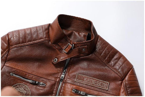 Dante Men Biker Distressed Leather Jacket
