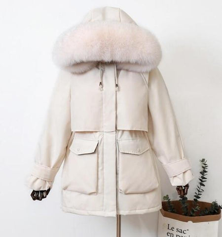 Evelina Women Fur Hooded Winter Down Coat