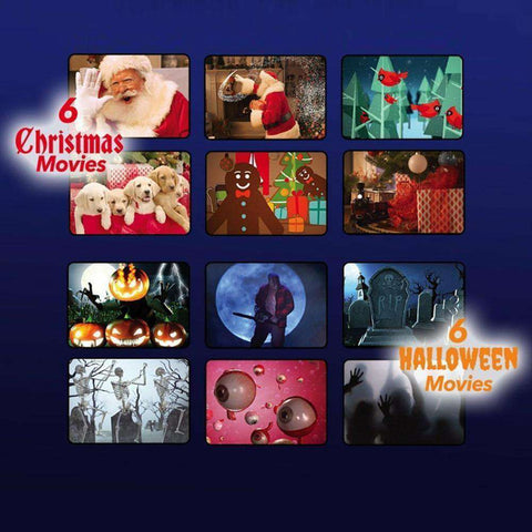 Holiday Window Scene Animation Projector -  6 Halloween + 6 Christmas Movies