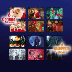 Christmas Holiday Window Scene Animation Projector - 6 Christmas Movies + 6 Halloween Movies