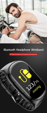 IHealth Beatz Sports Smart Watch With Bluetooth Earphone Earbuds Heart Rate Blood Pressure Monitor Wristband Long Time Standby Wireless Earbud