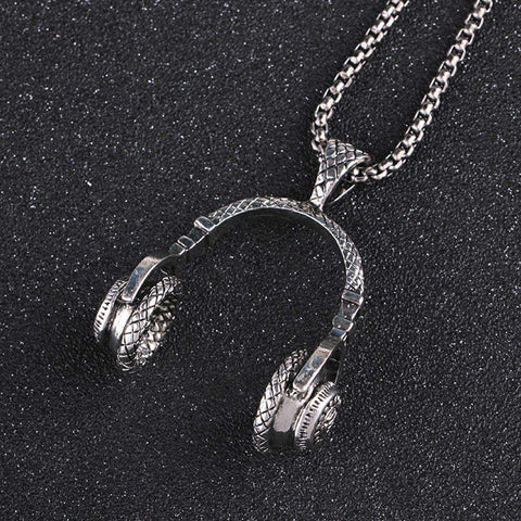 Mens Hip Hop Microphone Earphone Pendant Necklace