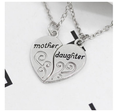 Mother Daughter Silver Love Necklace