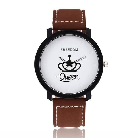 Relogio Couples Watch King & Queen Leather Watch