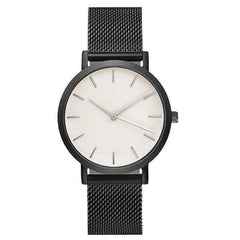 Women's Minimal Black Stainless Steel Watch
