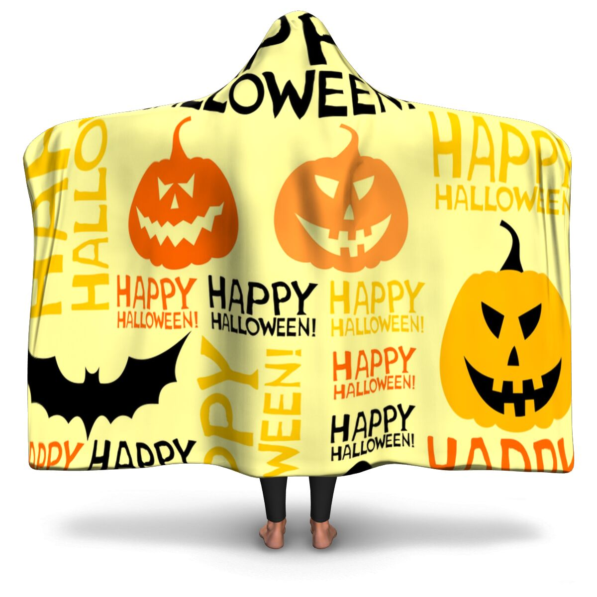 Bats And Pumpkin Funny Ghost With Halloween Hooded Blanket