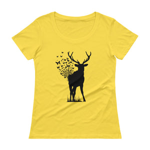 Deer Butterfly Ladies' Scoopneck T-Shirt Gifts for the Geeks www.GiftsForTheGeeks.com Nerdy Merchandise Marvel DC Comics GIfts For The Geeks  Apparel, Coding, gift, Humor, novelty, Programming, seasonal, Sold Out, Supergeek, t-shirt, T-Shirts, Type_T-Shirts, women