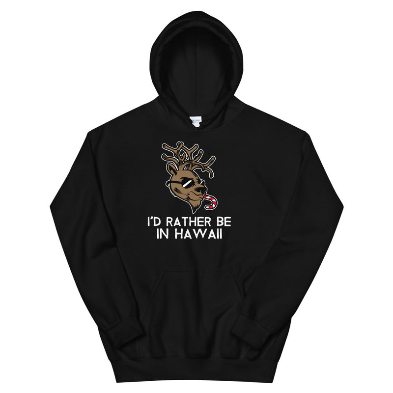 Reindeer - I'd Rather Be In Hawaii - Holiday Hoodie
