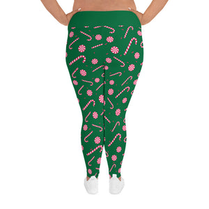 Candy Cane Plus Size Holiday Leggings