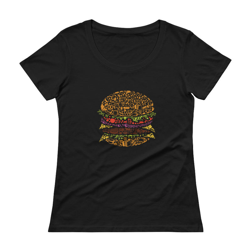 Hamburger Design Ladies' Scoopneck T-Shirt Gifts for the Geeks www.GiftsForTheGeeks.com Nerdy Merchandise Marvel DC Comics GIfts For The Geeks  Apparel, Coding, Humor, novelty, Programming, Sold Out, Supergeek, t-shirt, T-Shirts, Type_T-Shirts, womens