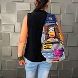 Unique Boho Unisex Hippie Foldable Hiking / Travel / School / Art Festival / Beach Backpack Handcrafted Patchwork Shoulder Bag Casual  Canvas Rucksack Indian Gifts for her him
