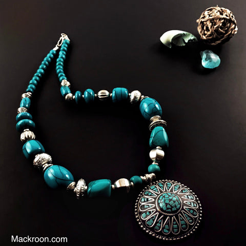 Unique Turquoise / Aqua Blue Aloha Handcrafted Beaded Beach Pendant Necklace, Jewelry,  Gifts for her, mom