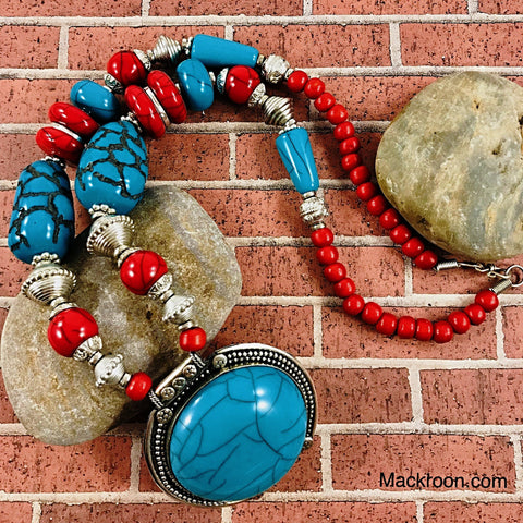 Unique Traditional Boho Turquoise / Aqua Blue Red Turk Handcrafted Beaded Pendant Necklace, Indian Native American Jewelry,  Gifts for her, mom
