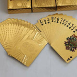 Unique Rare Gold Foil Playing Cards with wooden box party poker casino deck of cards vintage souvenir gifts for him dad friend