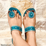 Turquoise Blue Aqua Stylish Handcrafted toe ring light weight comfortable kohlapuri leather slippers slip-ons durable gifts for her, mom
