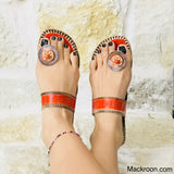 Orange Stylish Handcrafted toe ring light weight comfortable kohlapuri leather slippers slip-ons durable gifts for her, mom