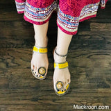 Yellow Stylish Handcrafted toe ring light weight comfortable kohlapuri leather slippers slip-ons durable gifts for her, mom