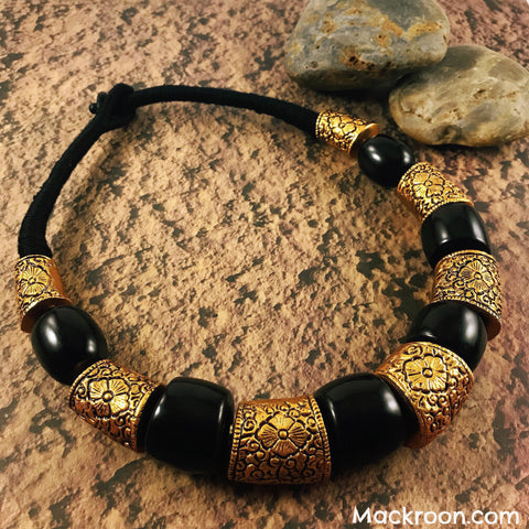 Vintage Vida Black Tribal Handcrafted Statement Necklace Jewelry Traditional Stylish Native American Unique gifts for her, mom