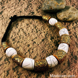 Vintage Vida White Tribal Handcrafted Statement Necklace Jewelry Traditional Stylish Native American Unique gifts for her, mom