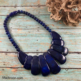 Navy Blue Petals Beaded Handcrafted Statement Necklace Jewelry Gifts for her mom boho bohemian beach necklace