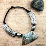 Vintage Hakuna Silver Tribal Handcrafted Threaded Statement Necklace Jewelry Traditional Native American Unique gifts for her, mom