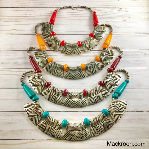 Vintage Pura Metal Silver Tribal Handcrafted Statement Necklace Jewelry Traditional Native American Unique gifts for her, mom