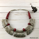 Vintage Pura Metal Red Burgundy Silver Tribal Handcrafted Statement Necklace Jewelry Traditional Native American Unique gifts for her, mom