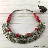 Vintage Pura Metal Red Silver Tribal Handcrafted Statement Necklace Jewelry Traditional Native American Unique gifts for her, mom