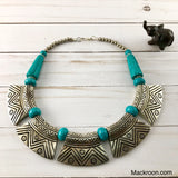 Vintage Pura Metal Turquoise Aqua Blue Silver Tribal Handcrafted Statement Necklace Jewelry Traditional Native American Unique gifts for her, mom