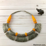 Vintage Pura Metal Yellow Silver Tribal Handcrafted Statement Necklace Jewelry Traditional Native American Unique gifts for her, mom