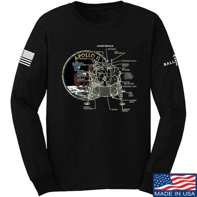 IV8888 Apollo Lunar Tech Long Sleeve T-Shirt Long Sleeve Small / Black by Ballistic Ink - Made in America USA