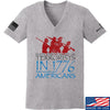 IV8888 Ladies 1773 vs 1776 V-Neck T-Shirts, V-Neck SMALL / Light Grey by Ballistic Ink - Made in America USA