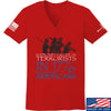 IV8888 Ladies 1773 vs 1776 V-Neck T-Shirts, V-Neck SMALL / Red by Ballistic Ink - Made in America USA