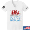 IV8888 Ladies 1773 vs 1776 V-Neck T-Shirts, V-Neck SMALL / White by Ballistic Ink - Made in America USA