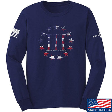 IV8888 Three Percenter Long Sleeve T-Shirt Long Sleeve Small / Navy by Ballistic Ink - Made in America USA