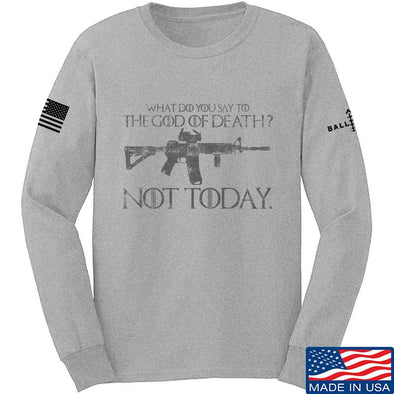 IV8888 AR15 Not Today Long Sleeve T-Shirt Long Sleeve Small / Light Grey by Ballistic Ink - Made in America USA