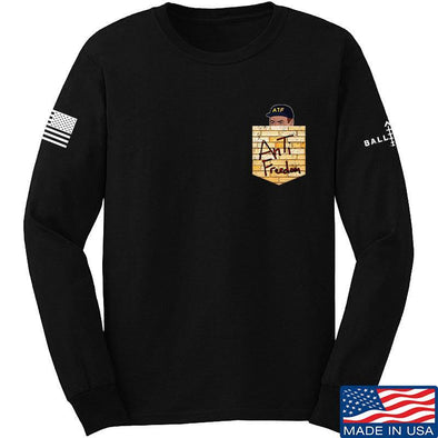 IV8888 AnTiFreedom (false) Pocket Long Sleeve T-Shirt Long Sleeve Small / Black by Ballistic Ink - Made in America USA