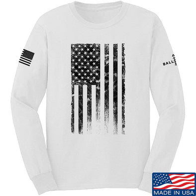 IV8888 Distressed Black Flag Long Sleeve T-Shirt Long Sleeve Small / White by Ballistic Ink - Made in America USA