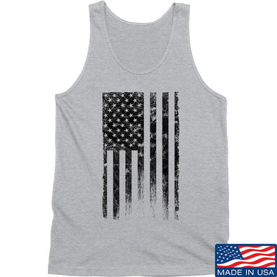 IV8888 Distressed Black Flag Tank Tanks SMALL / Light Grey by Ballistic Ink - Made in America USA