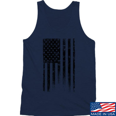 IV8888 Distressed Black Flag Tank Tanks SMALL / Navy by Ballistic Ink - Made in America USA